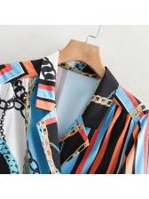 Euro Contrasting Colors Lapel Full Length Maxi Dresses