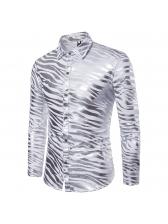 Turndown Neck Zebra-Stripe Printed Fitted Shirt