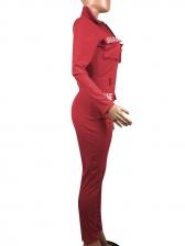 Turndown Neck Letter Pocket Solid Jumpsuit