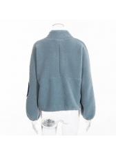 Fashion Zip Elbow Patch Loose Sweatshirt For Women