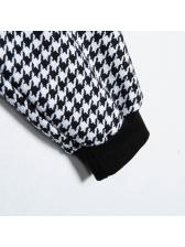 Crew Neck Houndstooth Crop Long Sleeve Sweatshirt