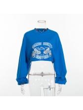 Crew Neck Letter Printed Crop Loose Sweatshirt