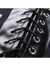 Sexy High Waist Lace Up Black Pu Skirt