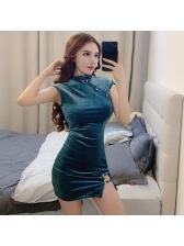 Cheongsam Slit Bodycon Velvet Dress