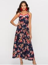 V Neck Spaghetti Strap Floral Dresses