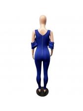 Deep V Neck Off Shoulder Ruffled Skinny Jumpsuit
