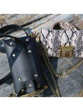 Snake Printed Waist Bag With Chain