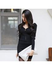 V Neck Zipper Black Bodycon Dress