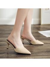 Hot Sale Pointed Solid Kitten Slip On Heels