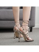 Euro Snake Printed Cross Belt Stiletto Sandals