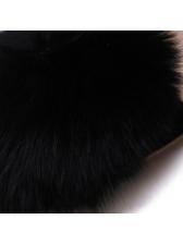 Cony Hair Patchwork Pvc Black Stiletto For Women