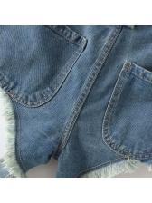 High Waist Tassel Worn Out Jeans For Women