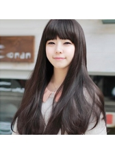 Korean Style Neat Bang Long Shaggy Synthetic Wigs