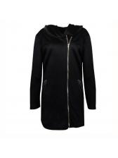 Casual Thicker Zip Long Hoodies For Women