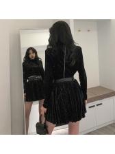 Hot Drilling Mock Neck Velvet Top With Bubble Skirt