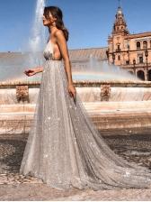 Glitter V Neck Silvery Evening Dresses Formal