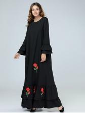 Muslim Embroidery Ruffles Patchwork Womens Black Maxi Dress