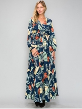 Euro Printed Binding Loose Wrap Ladies MaxDresses