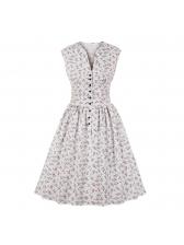 Spring Ruched V-Neck Sleeveless Dresses