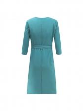 Binding Bow V Neck Wrap Dress