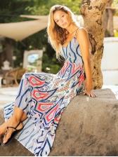 Bohemia Backless Lace Up Printed Split Hem Maxi Dress