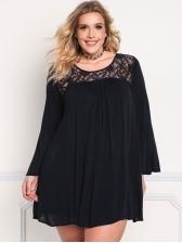 Crew Neck Lace Patchwor Curve Plus Size Dress