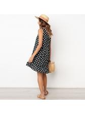 Polka Dots Ruffles Womens Sleeveless Dresses