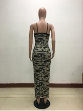Deep V Neck Zip Camouflage Split Hem Maxi Dress