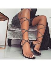 Euro Black Heel Lace Up Sandals