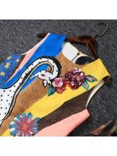 Boutique Color Block Sequined Vintage Dresses