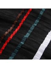 Patchwork Striped Crew Neck Plus Size Dresses