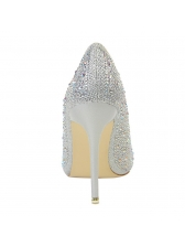 Pointed Toe Beading Thin Heel Pumps