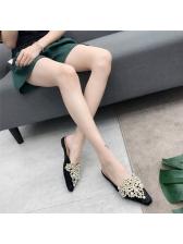 Stylish Beading Close Toe Woman Flats