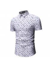 Simple Style Geometric Printed Fitted Shirt For Men