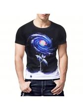 Starry Sky Printing Crew Neck T Shirts