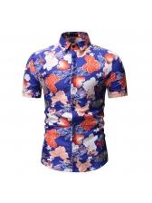 Flower Print Turndown Collar Shirts