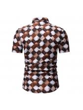 Geometric Print Contrast Color Turndown Collar Shirt