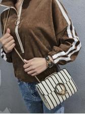 Simple Style Metal Hasp Striped Shoulder Bag