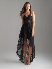 V Neck Asymmetrical Lace Womens Black Maxi Dress