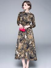 Printed Binding Bow Vintage Maxi Dresses
