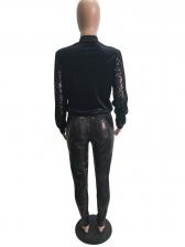 Stand Neck Sequin Zip 2 Piece Trouser Sets