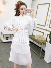 Sequin Patchwork Stand Collar Fashion Dress