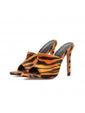 Euro Leopard Print Thin Heel Slippers