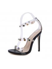 Stylish Beading Thin Heel Clear Sandals