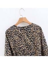 Irregular Binding Bow Leopard Print Dress