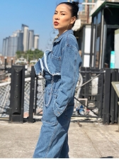 Single-Breasted Pocket Wide Leg Denim Jumpsuit