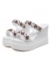 Fashionable Beading Open Toe Wedges Slippers