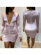 Sexy V Neck Pleated Dress