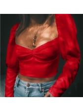 Hot Sale Puff Sleeve Crop T-Shirt
