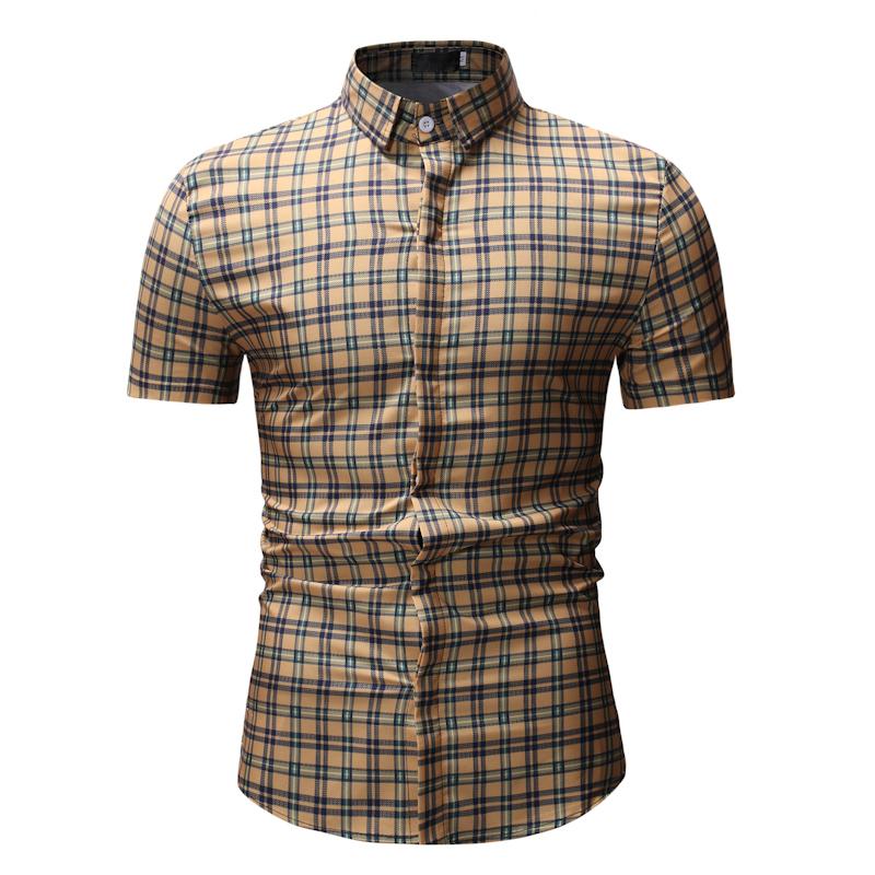 Check Turndown Collar Short Sleeve Shirts